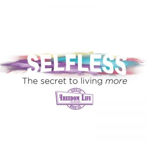"Selfless title with pastel background - with ""The secret to living more"" subtitle"