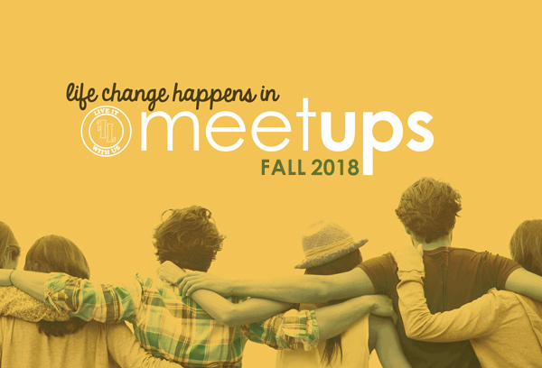 "people arm in arm with slogan ""Life change happens in meetups"" Fall 2018"