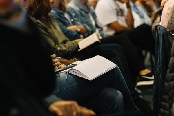 People sitting in Bible class