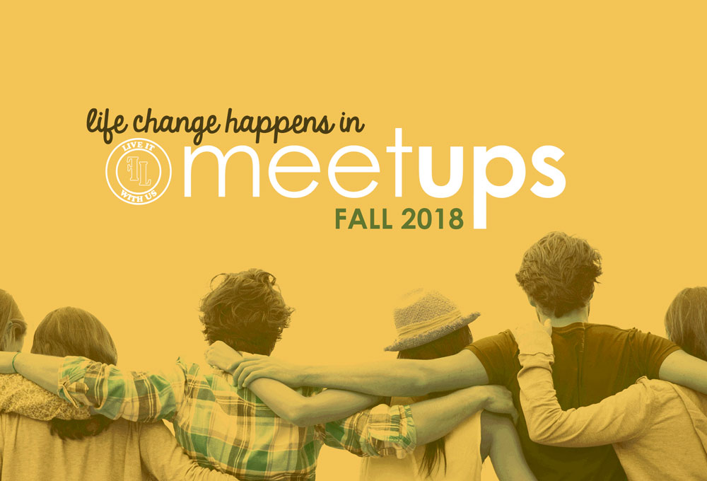 "group of people linking arms - ""life change happens in meetups"""